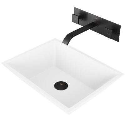 Vinca White Matte Stone Vessel Bathroom Sink Set with Titus Wall Mount Faucet in Matte Black