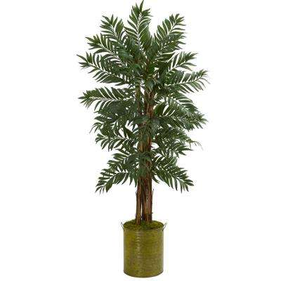 5 ft. High Indoor Parlor Palm Artificial Tree in Green Tin Planter
