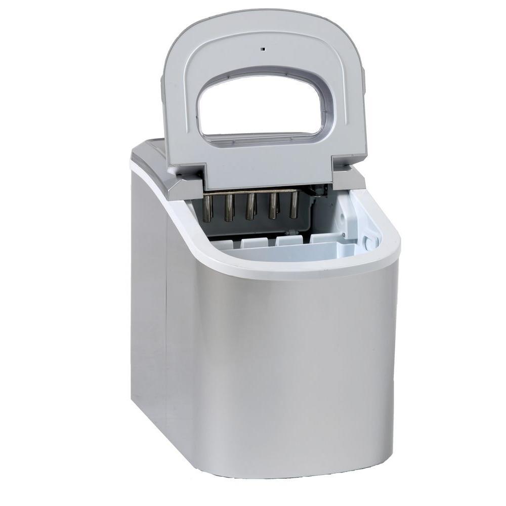 Avanti Portable 16 in. 26 lbs. Freestanding Countertop Icemaker in Stainless Steel