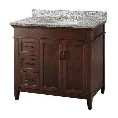 Ashburn 37 in. W x 22 in. D Vanity in Mahogany with Granite Vanity Top in Santa Cecilia with White Sink