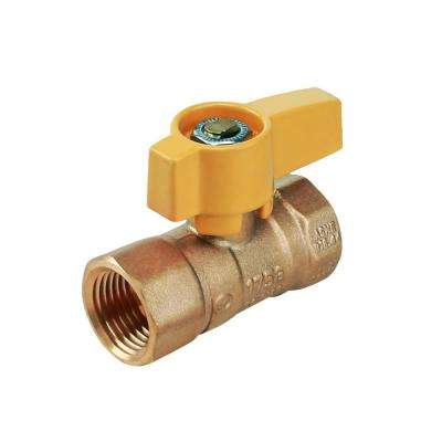 1/2 in. Brass FIP Gas Ball Valve with Yellow Aluminum Alloy Handle