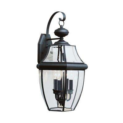 Lancaster 3-Light Black Outdoor 23 in. Wall Mount Lantern with Dimmable Candelabra LED Bulb