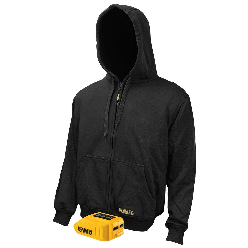 DEWALT Large 20-Volt MAX Black Heated Hoodie Kit with (1) 2.0Ah Battery and Charger with USB Port