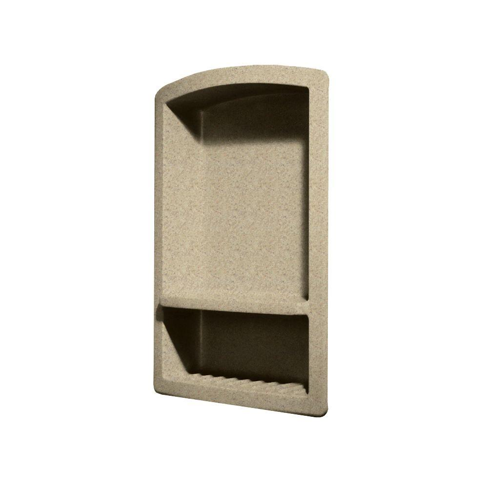Swan Recessed Wall-Mount Solid Surface Soap Dish and Accessory Shelf in Prairie