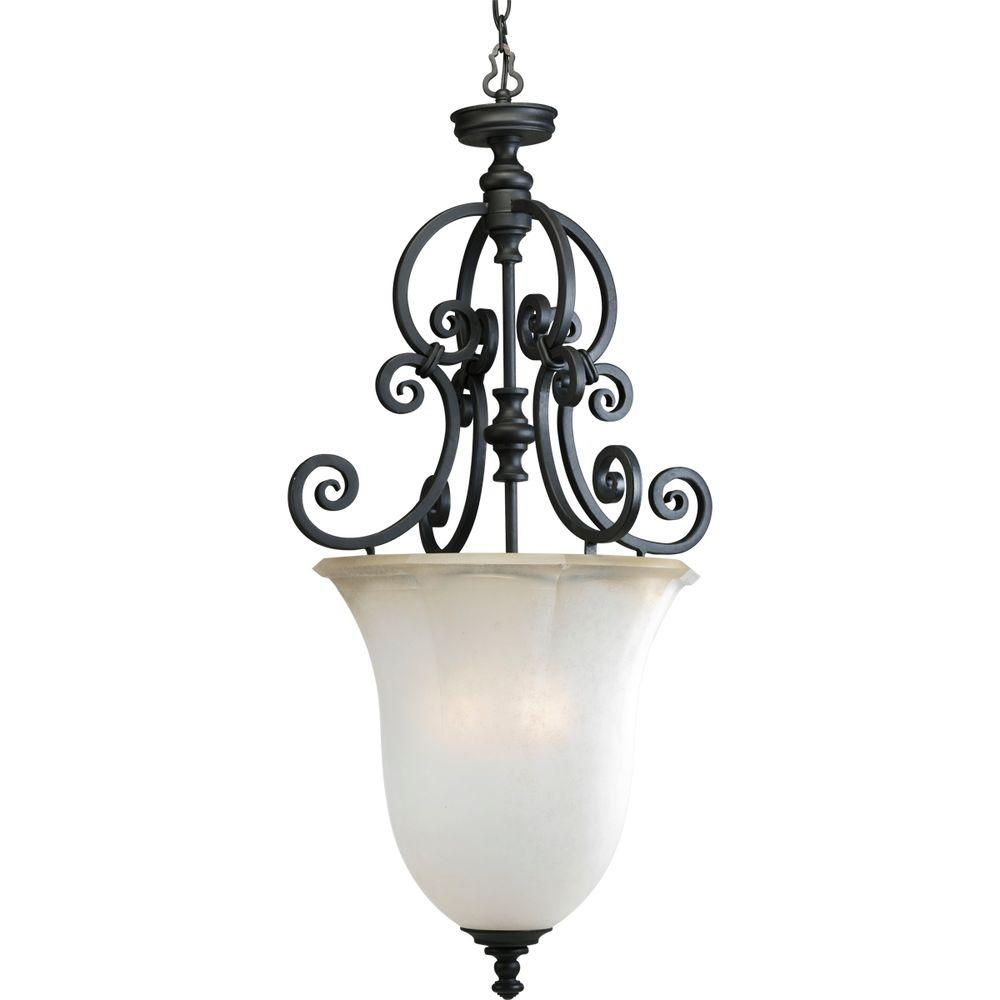 Progress Lighting Guildhall Collection 3-Light Forged Black Foyer Pendant-DISCONTINUED