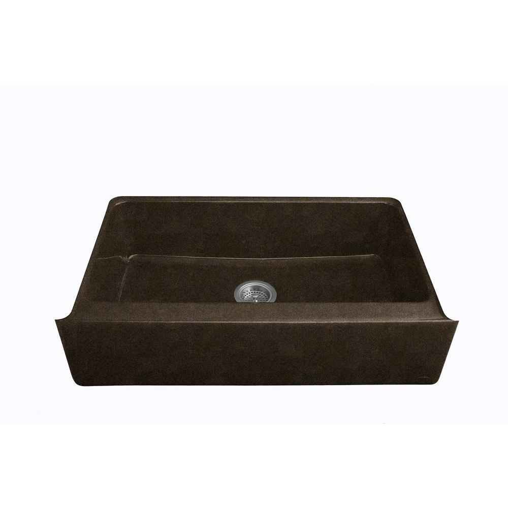 KOHLER Dickinson Undermount Farmhouse Apron-Front Cast Iron 33 in. 4-Hole Single Bowl Kitchen Sink in Black 'n Tan