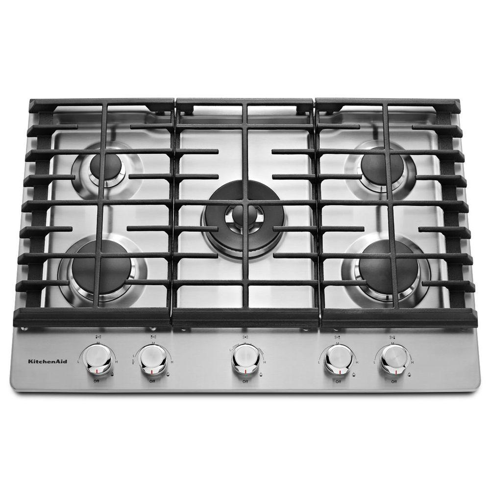 KitchenAid 30 in. Gas Cooktop in Stainless Steel with 5 Burners Including Professional Dual Ring Burner