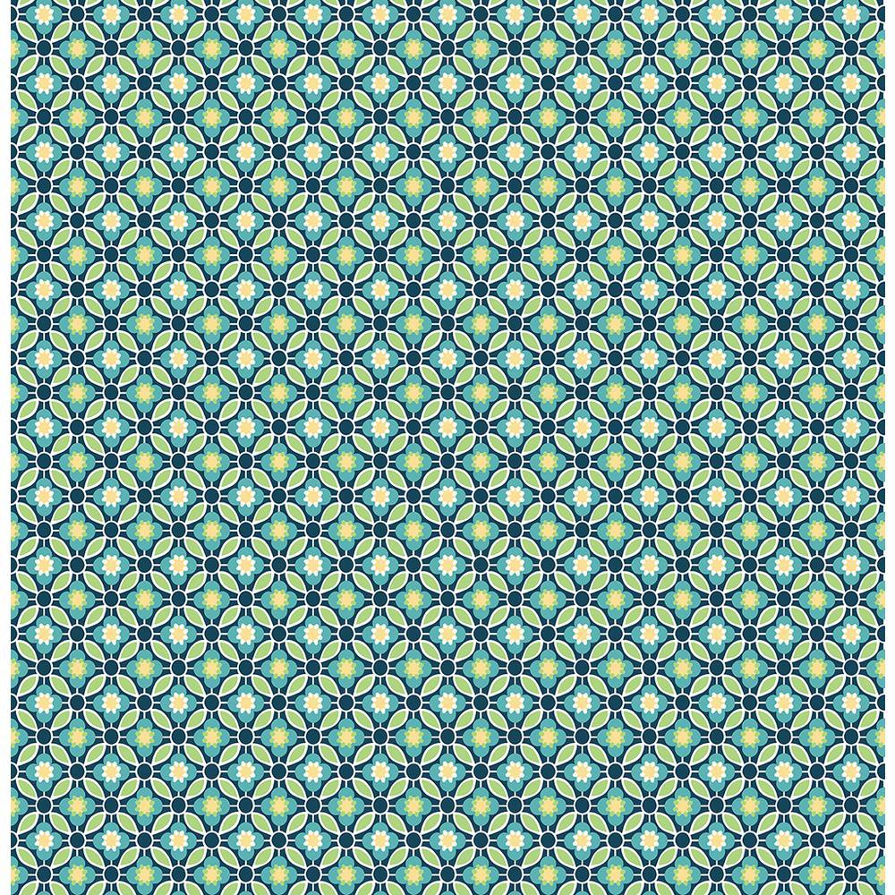 Brewster Audra Blue Floral Wallpaper Sample 2704-22243SAM