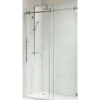 Trident Premium 60 in. x 62 in. Frameless Sliding Shower Door with Tempered Clear Glass in Brush Nickel