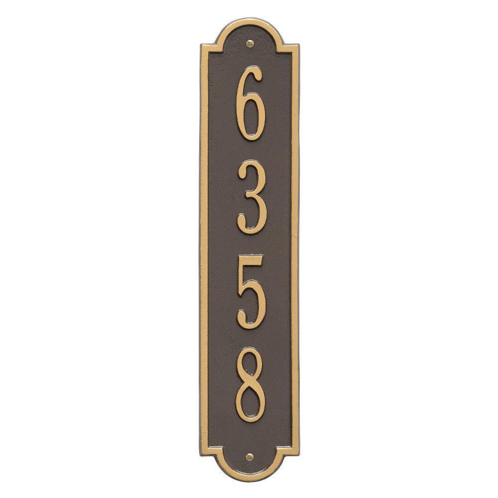Richmond Standard Rectangular Bronze/Gold Wall 1-Line Vertical Address Plaque