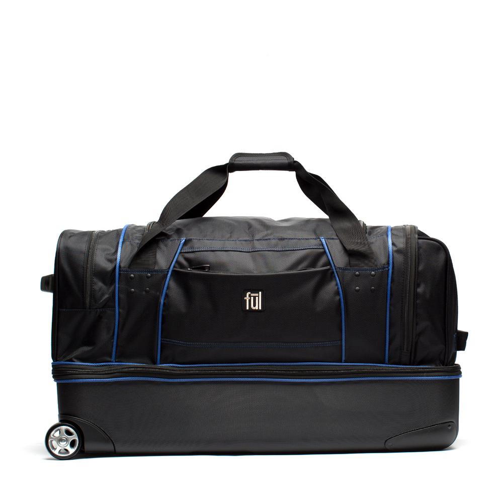 f75532d4fe Workhorse 30 in. Black and Blue Rolling Duffel Bag Retractable Pull Handle  Split Level Storage