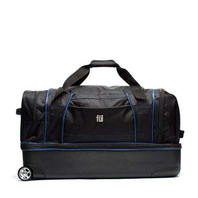Workhorse 30 in. Black and Blue Rolling Duffel Bag Retractable Pull Handle Split Level Storage