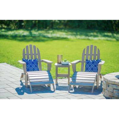 Icon Weathered Wood Recycled Plastic Folding Adirondack Chair with Side Table (2-Pack)