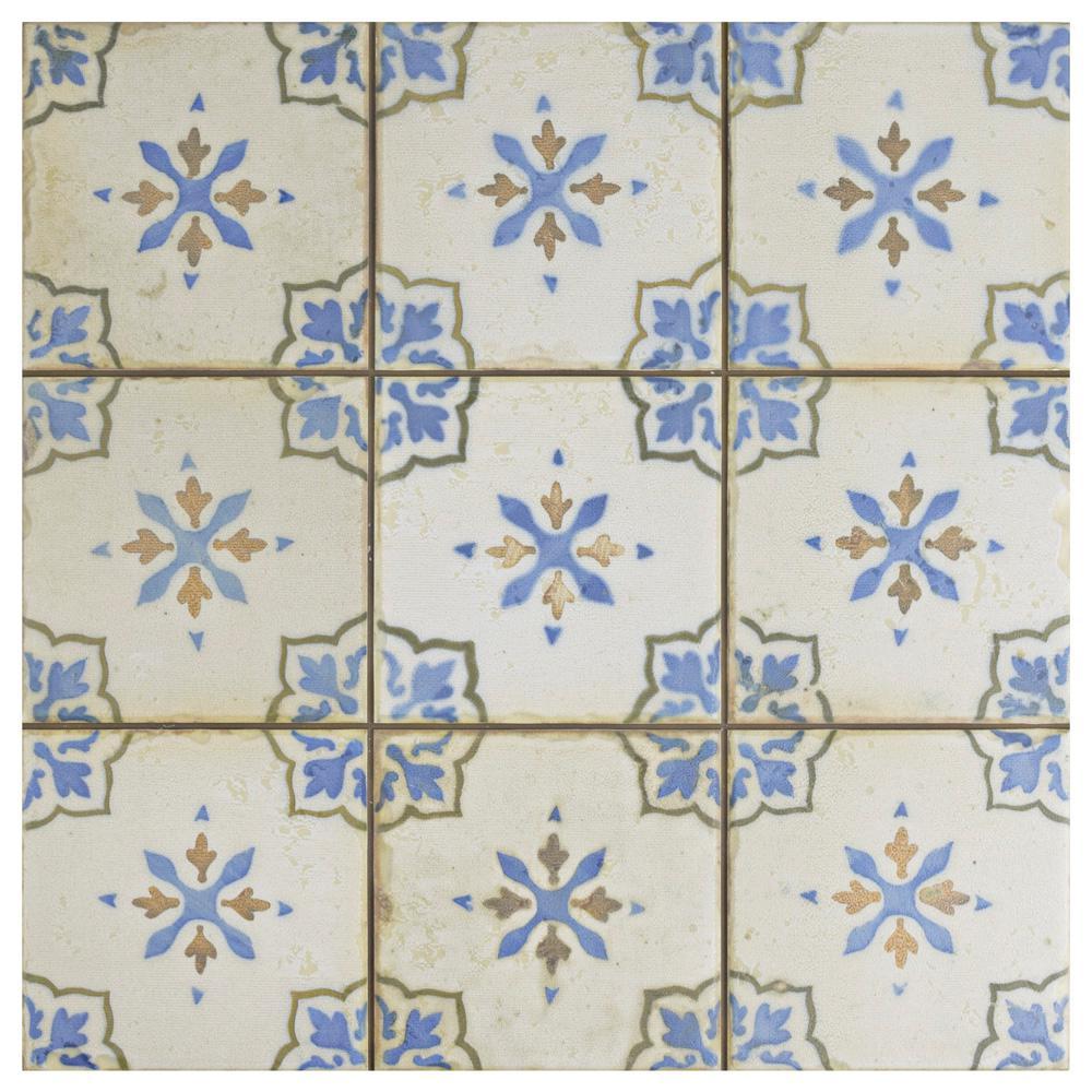Mirambel Azul Encaustic 13 in. x 13 in. Ceramic Floor and Wall Tile (12.2 sq. ft. / case)