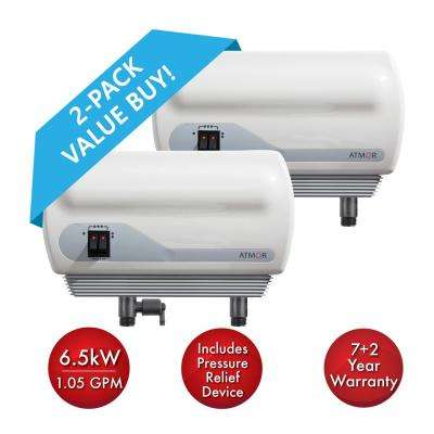 6.5 kW/240-Volt 1.05 GPM Electric Tankless Water Heater with Pressure Relief Device, On Demand Water Heater (2-Pack)