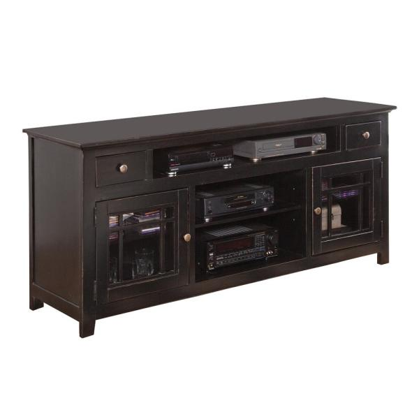 Emerson Hills 74 in. Black Wood TV Stand with 2 Drawer Fits TVs Up to 80 in. with Storage Doors