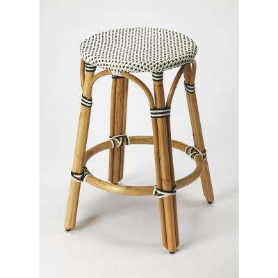 Tobias 24 in. Black and White Rattan Counter Stool