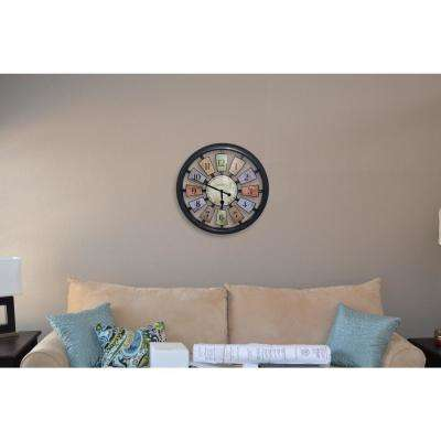 18.5 in. Multi-Colored Panel Wall Clock