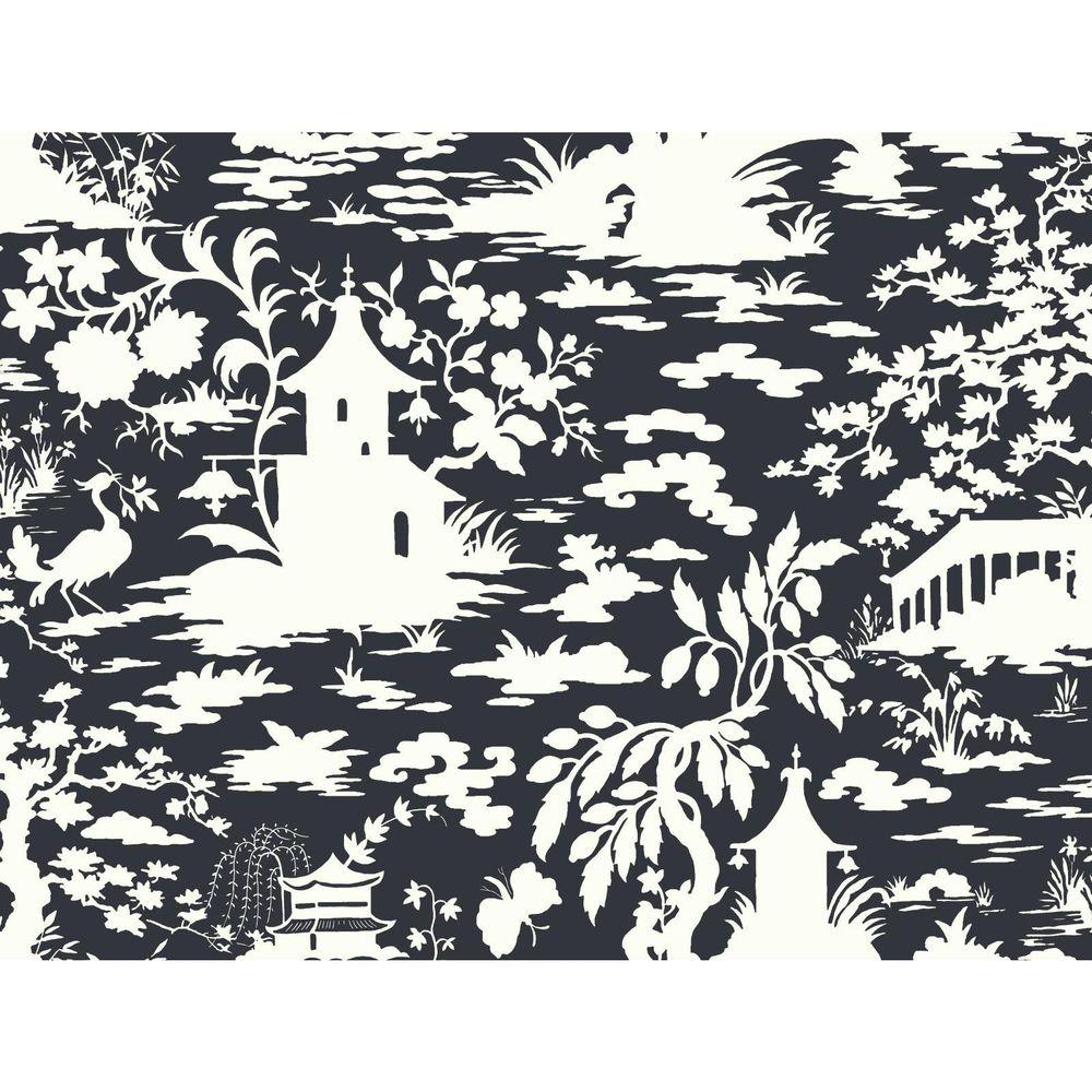 York Wallcoverings Black and White Asian Scenic Wallpaper
