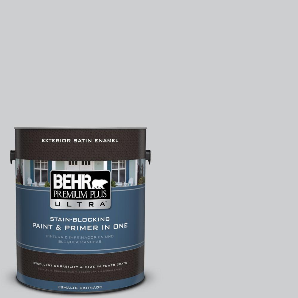 1 gal. #770E-2 Silver Screen Color Satin Enamel Exterior Paint