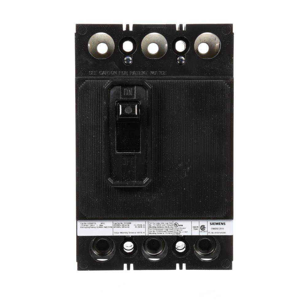 siemens 175 amp three pole type qj2 10ka circuit breaker qj23b175 the home depot. Black Bedroom Furniture Sets. Home Design Ideas