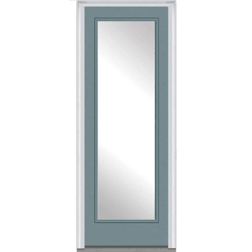 Mmi door 36 in x 96 in clear glass left hand full lite for Steel front entry doors with glass