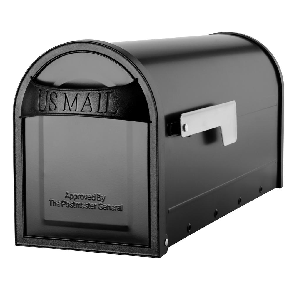 Architectural Mailboxes Carlisle Black Post Mount Mailbox with Nickel Flag