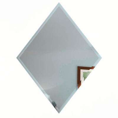 """Reflections Graphite Blue Beveled Diamond 6"""" x 8"""" Glass Mirror Peel & Wall Tile (6-Pc/Pack)"""