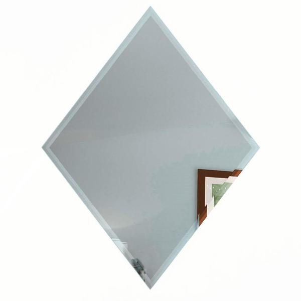ABOLOS Diamond 6'' x 8'' Gray Blue Beveled Glossy Glass Mirror