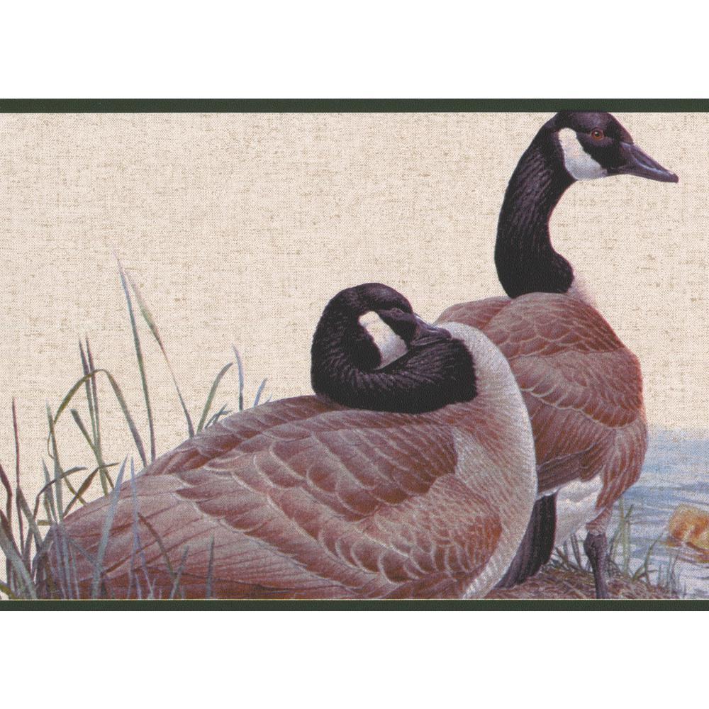 Duck Duckling On The Lake Shore Vintage Prepasted Wallpaper Border