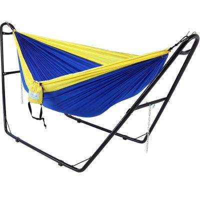 10 ft. Free Standing Nylon Parachute 2-Person Camping Hammock with Stand in Blue and Yellow
