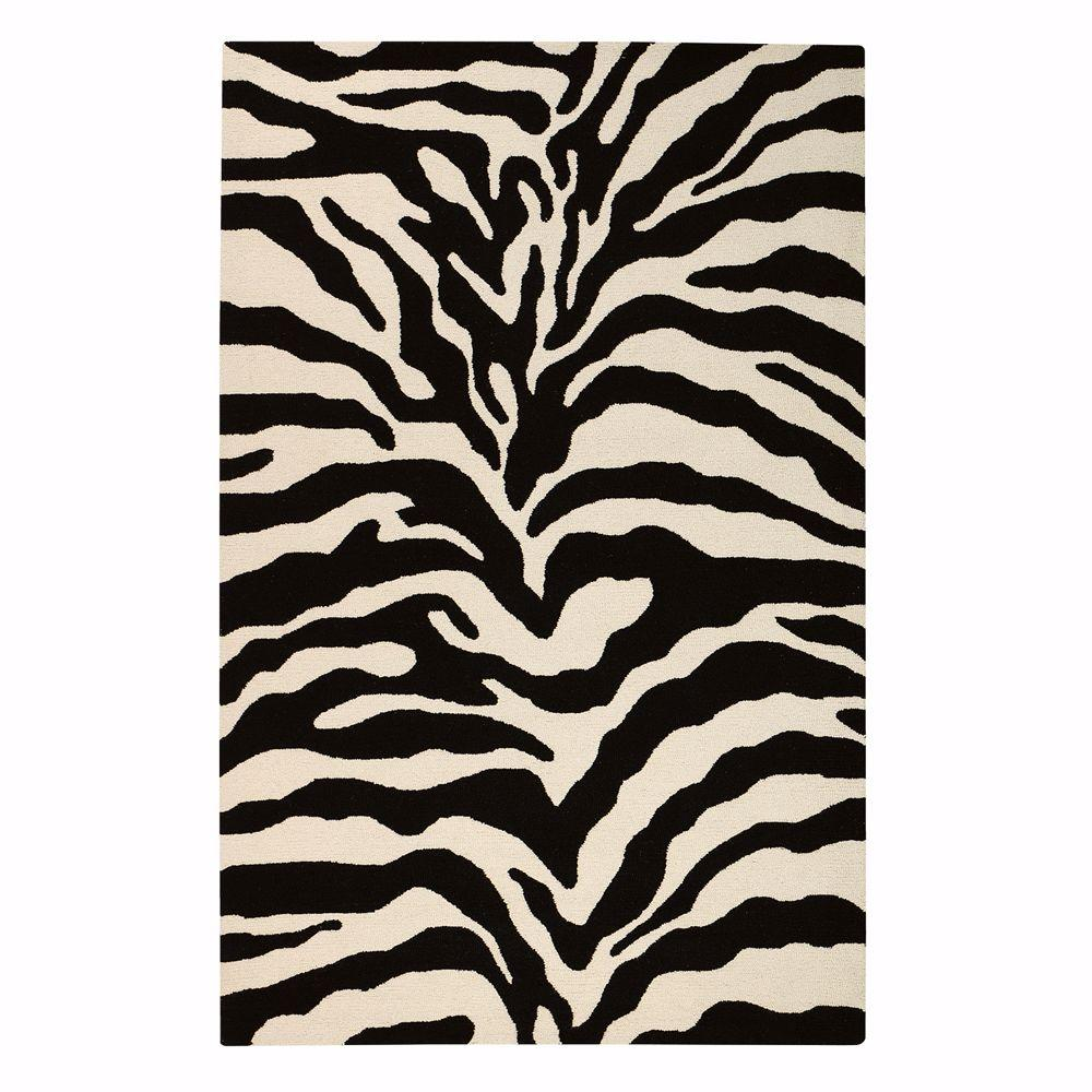 Home Decorators Collection Trek White and Black 5 ft. 3 in. x 8 ft. 3 in. Area Rug