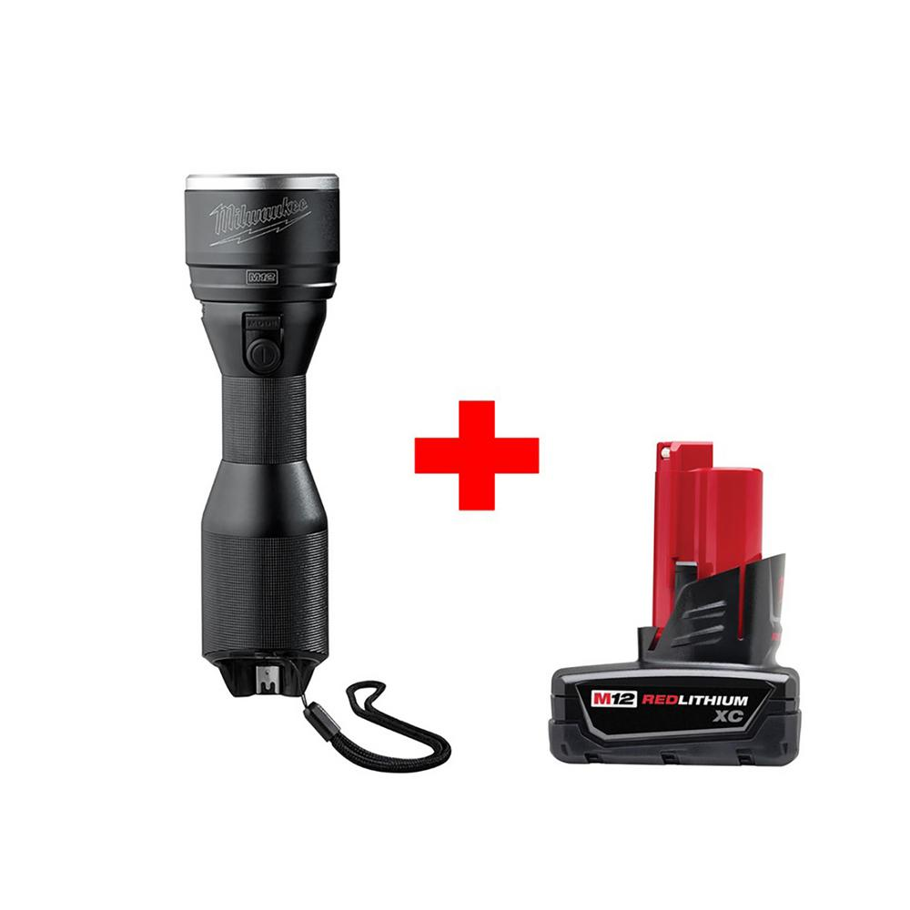 M12 12-Volt Lithium-Ion Cordless LED High Performance Flashlight W/ Free M12