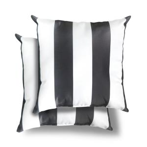 18 in. x 18 in. Black Cabana Stripe Square Outdoor Throw Pillow (2 Pack)