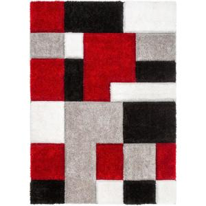 San Francisco Escondido Red Modern Geometric Squares 3 ft. 11 in. x 5 ft. 3 in. 3D Carved Shag Area Rug