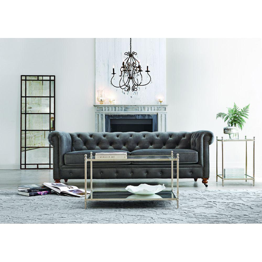 Home Decorators Collection Gordon Grey Velvet Sofa 0849400120 - The ...