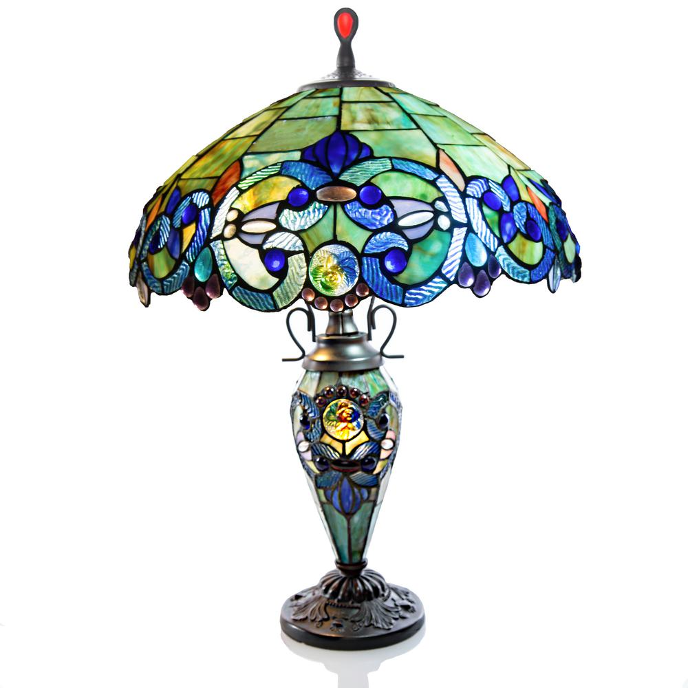 River Of Goods 26 in. Blue Indoor Table Lamp with Stained...