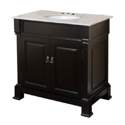 Belvedere 36 in. W x 22.5 in. D Single Vanity in Espresso with Marble Vanity Top in Cream White with White Basin