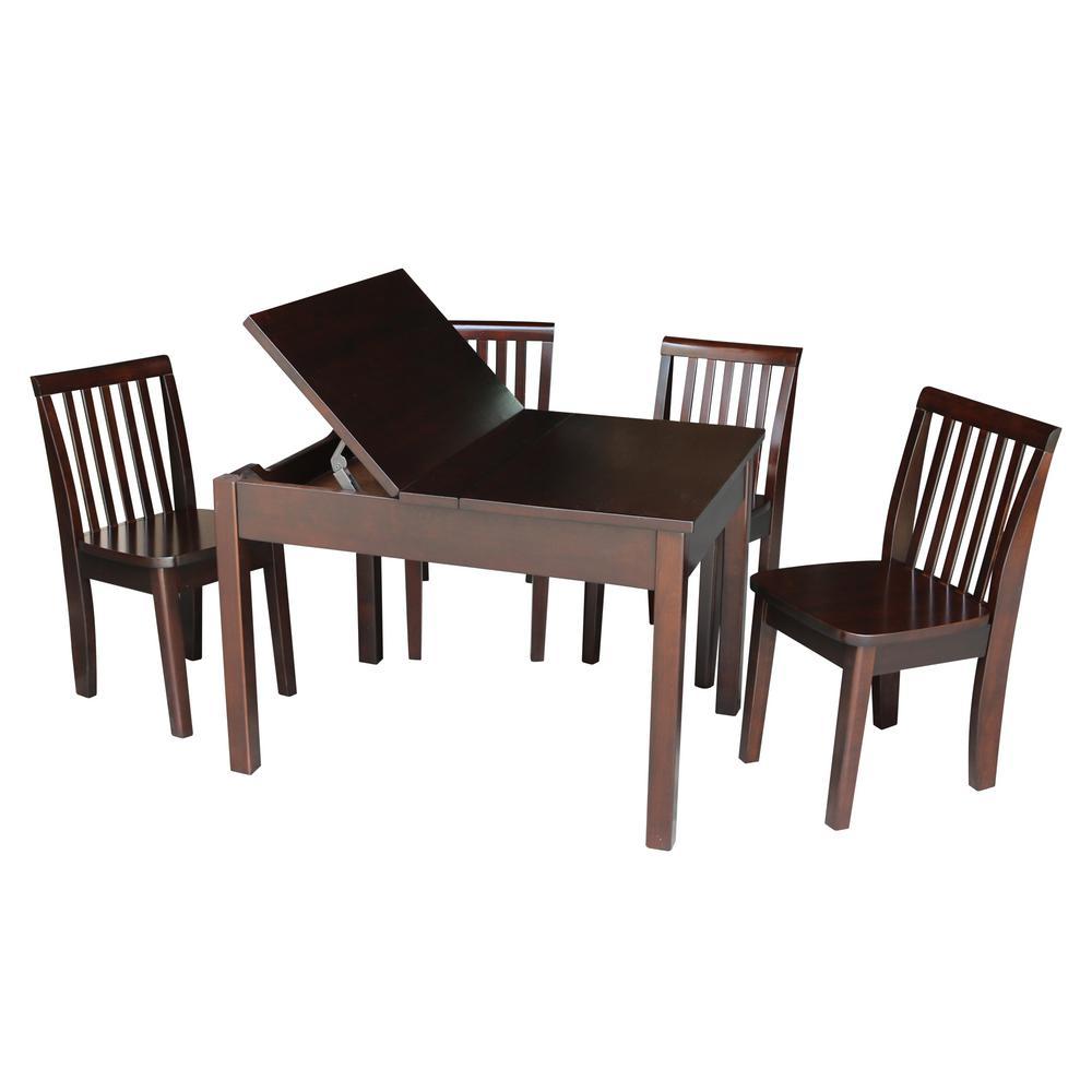 5-Piece Mocha Child's Lift-Top Storage Table Set