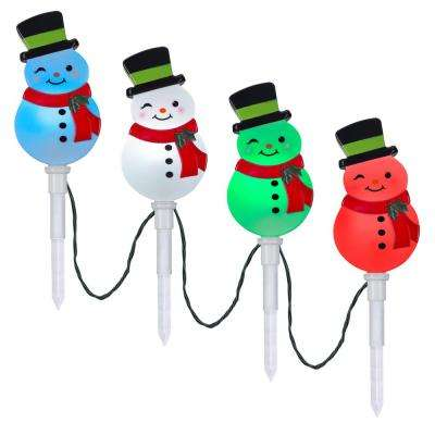 20 in. Christmas ColorMotion Pathway Stakes Snowman (Set of 4)