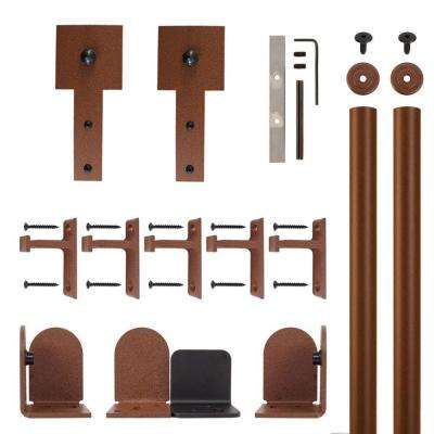 Cube Stick New Age Rust Rolling Door Hardware Kit for 1-1/2 in. to 2-1/4 in. Door