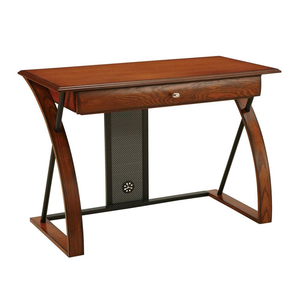 OSPdesigns Aurora Medium Oak Desk-AR2544R - The Home Depot
