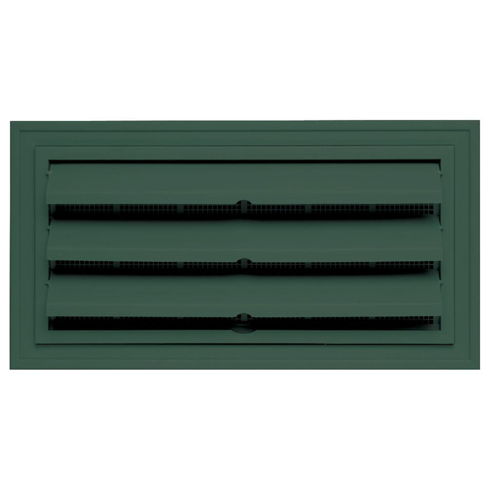 Builders Edge 9.375 in. x 18 in. Foundation Vent with Ring for Remodeling, #028-Forest Green-DISCONTINUED
