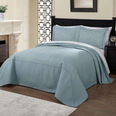 French Tile Quilted Dusty Blue King Bedspread