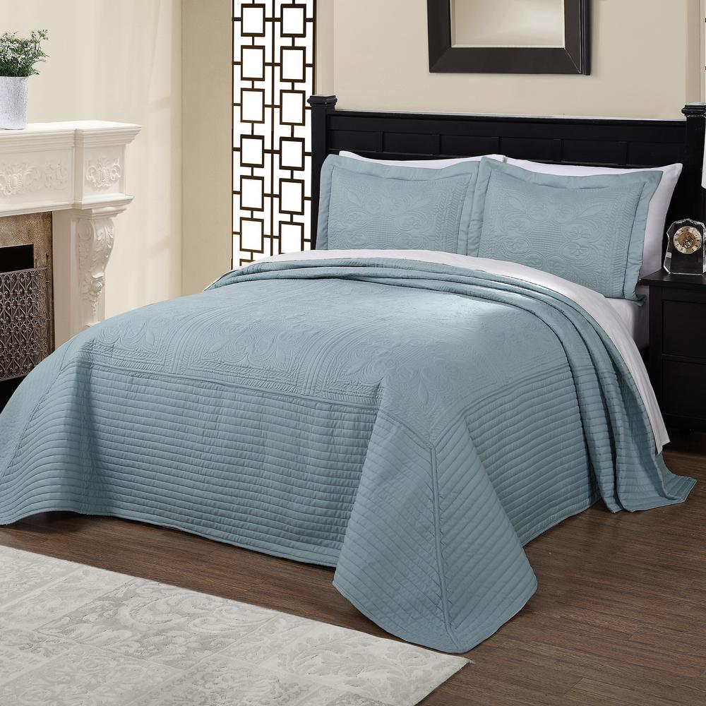 French Tile Quilted Dusty Blue Queen Bedspread