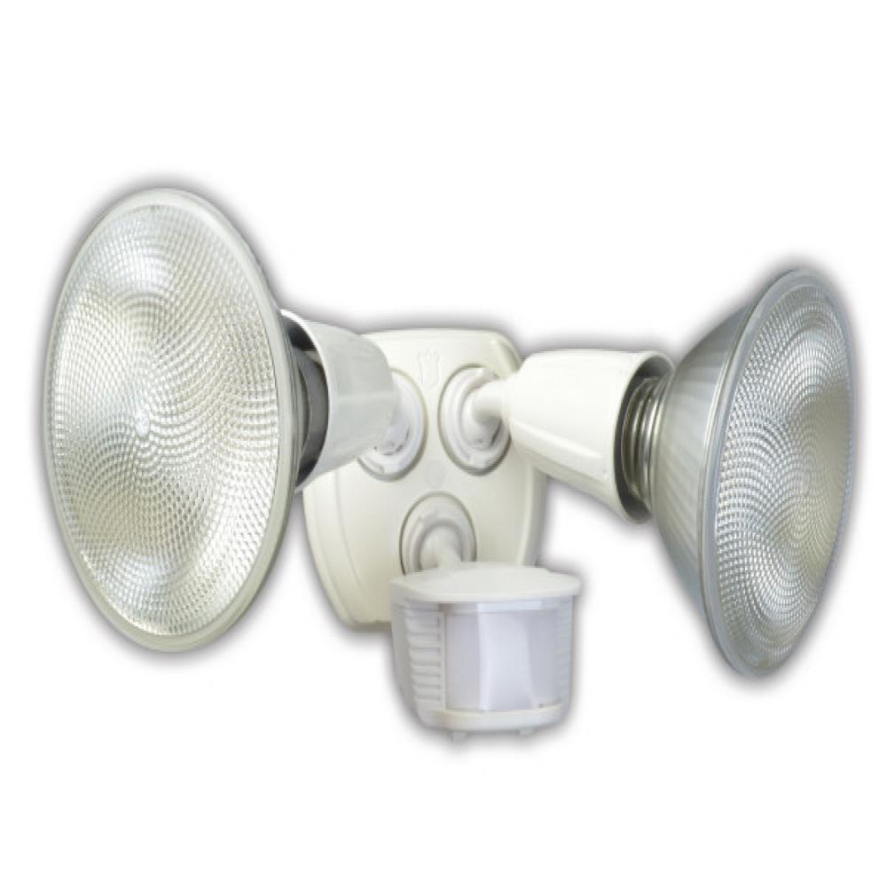 Southwire 240-Watt 180-Degree White Motion Activated Outdoor Dusk to Dawn Security Flood Light with Twin Head