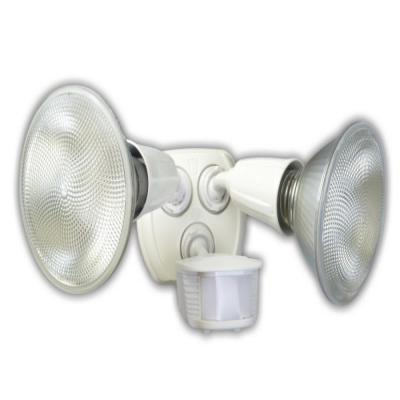 240-Watt 180-Degree White Motion Activated Outdoor Dusk to Dawn Security Flood Light with Twin Head
