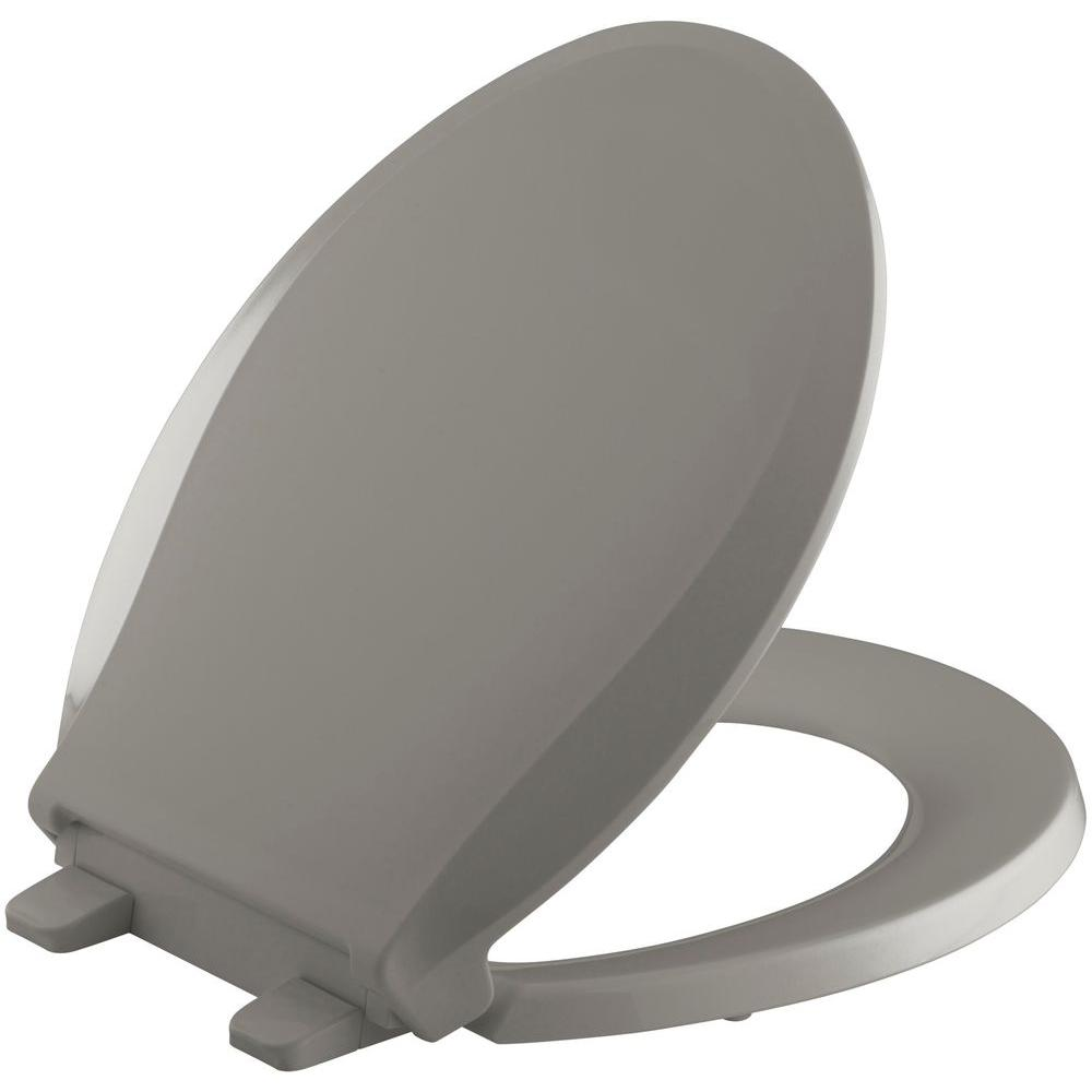 KOHLER Grip-Tight Cachet Q3 Round Front Closed-front Toilet Seat in Cashmere
