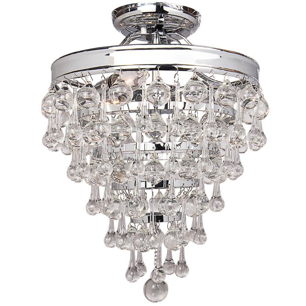 Milton 3-Light Chrome Crystal Semi-Flushmount