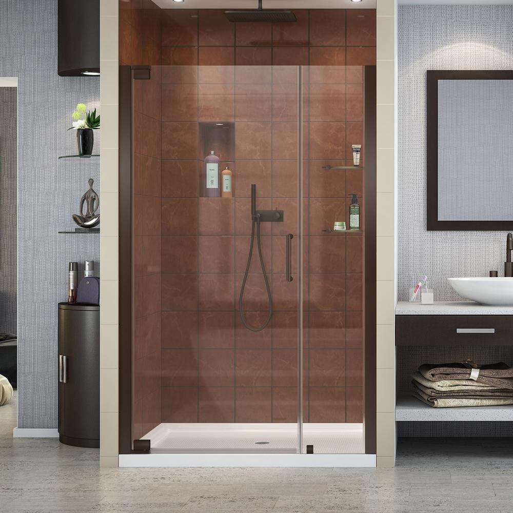 Elegance 46 in. to 48 in. x 72 in. Semi-Frameless Pivot Shower Door in Oil Rubbed Bronze